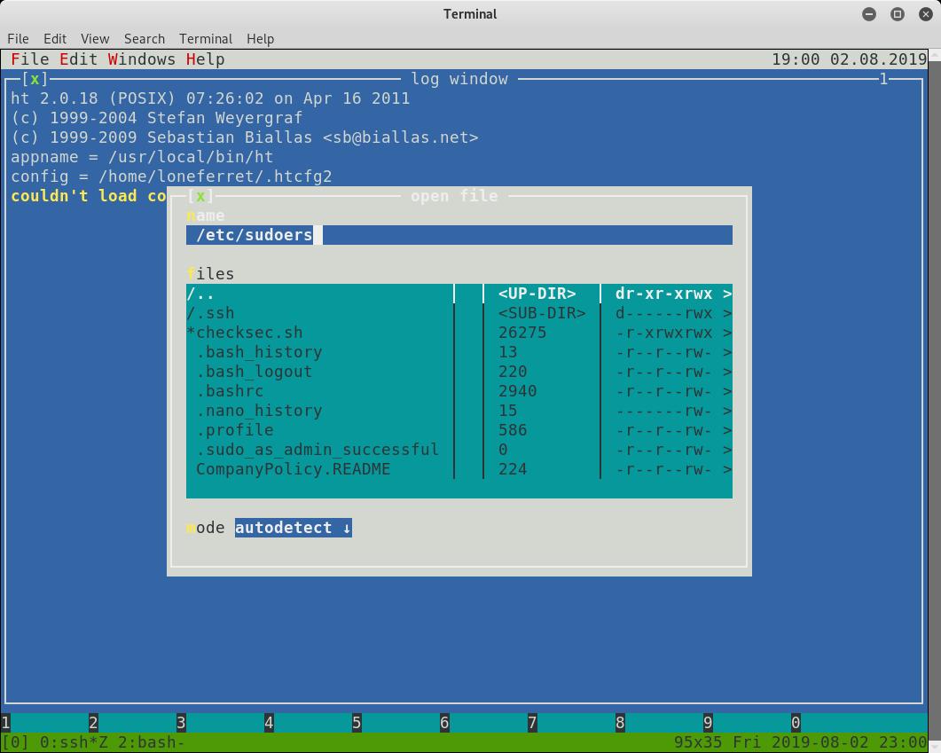 Kioptrix 1.2 open `/etc/sudoers`